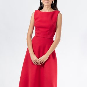 Rochie midi fit and flare fara maneca