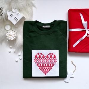 Set cuplu pulovere bumbac cu broderie de Craciun – Inima Traditionala