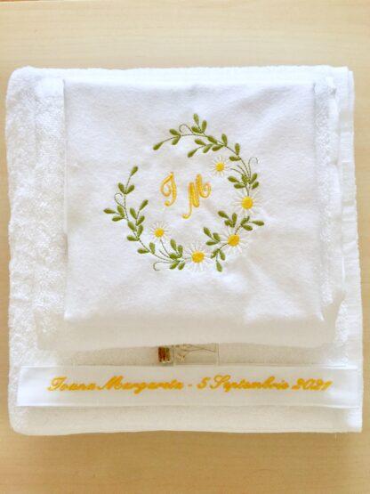 Trusou botez elegant personalizat tema florala- prosop traditional - PREMIUM